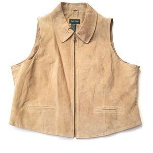 Vintage leather vest women's 22W tan